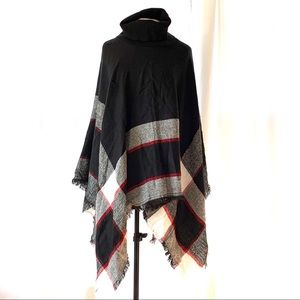 Knitted Turtleneck Plaid Poncho